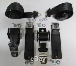 1972, 1973 Corvette Seat Belt Car Set + Harness, Sleeves, Bolts, GM Buckles Black