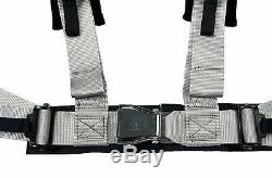 2X ANIKI GRAY 4 POINT AIRCRAFT BUCKLE SEAT BELT HARNESS with ULTRA SHOULDER PAD