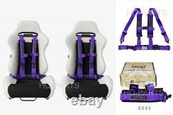 2X ANIKI PURPLE 4 POINT AIRCRAFT BUCKLE SEAT BELT HARNESS with ULTRA SHOULDER PAD