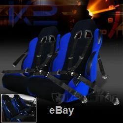 2X Black / Blue JDM Racing Seats+Black 4 Point Camlock Racing Seat Belts Harness