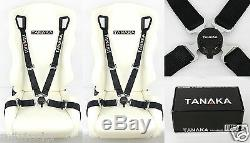 2 Tanaka Black 4 Point Camlock Quick Release Racing Seat Belt Harness Fit Vw