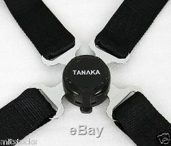 2 Tanaka Black 4 Point Camlock Quick Release Racing Seat Belt Harness Mitsubishi