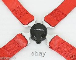 2 Tanaka Red 4 Point Camlock Quick Release Racing Seat Belt Harness Fit Vw