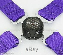 2 Tanaka Universal Purple 4 Point Camlock Quick Release Racing Seat Belt Harness