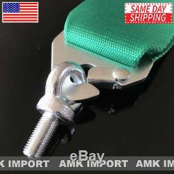 2 X AMK Racing Harness 5 Point 3 Inch Metal Camlock Heavy Duty Seatbelt Green