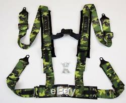 2 X ANIKI CAMO 4 POINT AIRCRAFT BUCKLE SEAT BELT HARNESS with ULTRA SHOULDER PAD