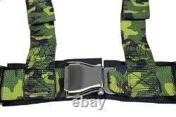 2 X Aniki Camo 4 Point Aircraft Buckle Racing Seat Belt Harness Fits Polaris Utv
