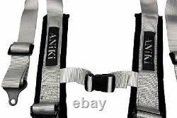 2 X Aniki Gray 4 Point Aircraft Buckle Racing Seat Belt Harness Fits Polaris Utv