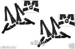 2 X Black 4 Point Camlock Quick Release Racing Seat Belt Harness 2