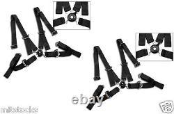 2 X Black 4 Point Camlock Quick Release Racing Seat Belt Harness 2 Mazda