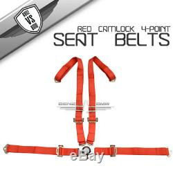 2 X JDM 4-Point Charlock Racing Seat Belts Harness Red Shoulder Strap No Logo