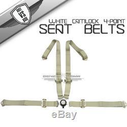 2 X JDM 4-Point Charlock Racing Seat Belts Harness White Light Silver Strap