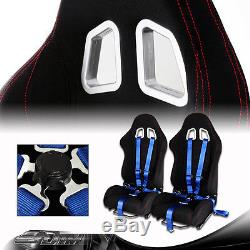 2 X Jdm T1 Black+red Stitches Racing Seats + Blue 5 Point Cam Lock Harness Belt