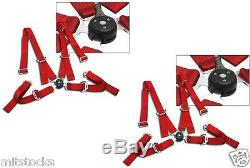 2 X Red 4 Point Camlock Quick Release Racing Seat Belts Harness 2 Toyota