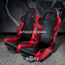 2 X Red+carbon Woven Cloth Racing Seats+universal Slider+2x 4-point Harness Belt