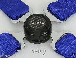 2 X Tanaka Universal Blue 4 Point Camlock Quick Release Racing Seat Belt Harness
