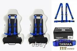2 X Tanaka Universal Blue 4 Point Ez Release Buckle Racing Seat Belt Harness