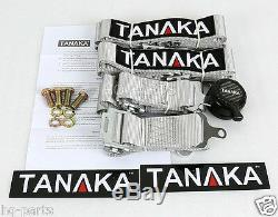 2 X Tanaka Universal Gray 4 Point Camlock Quick Release Racing Seat Belt Harness