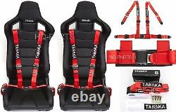 2 X Tanaka Universal Red 4 Point Ez Release Buckle Racing Seat Belt Harness