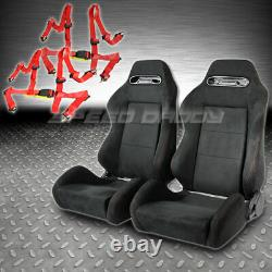 2 X Type-r Black Suede Reclinable Racing Seats+slider+4-point Harness Red Belts