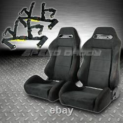 2 X Type-r Fully Reclinable Black Suede Racing Seats+sliders+4-pt Harness Belts