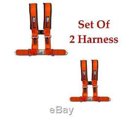 2 qty 3 Inch 4 point Orange Safety Harness Seat Belt Polaris RZR Ranger Crew UTV