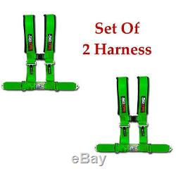 2 qty 4 Point Green Seatbelt Harness Polaris RZR RZR4 2 4 Seater 900 1000 800 XP