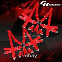 2x 6-point 3 Wide Red Strap Harness Safety Camlock Style Racing Seat Belt+bolts