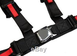2x Aniki Black 4 Point Aircraft Buckle Racing Seat Belt Harness Fits Polaris Utv