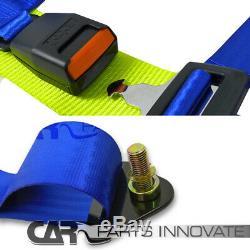 2x Black Blue Cloth T-R Type Reclinable Racing Bucket Seats+Seat Belt Harness