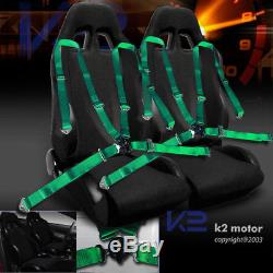 2x Black Cloth PVC Leather Racing Seats+4 Point Camlock Green Harness Seat Belts