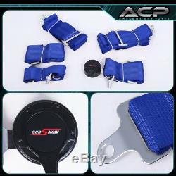 2x Black Cloth Racing Bucket Seat Red Stitching 2x 5pt Blue Seatbelt Harness Set