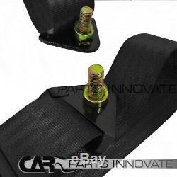 2x JDM Black Cloth PVC Leather Reclinable Racing Bucket Seats+Seat Belt Harness