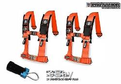 2x Pro Armor 2 4pt Harness Seat Belt withSewn Pads Orange Polaris Can-Am Kawasaki