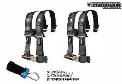 2x Pro Armor 3 4pt Harness Seat Belt withSewn Pads BLACK For Polaris Can-Am