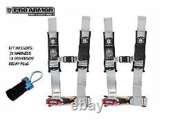 2x Pro Armor 3 4pt Harness Seat Belt withSewn Pads Silver For Polaris Can-Am