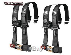 2x Pro Armor 3 Seat Belt 4pt Harness withSewn Pads BLACK Polaris Can-am Kawasaki