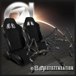 2x Reclinable Racing Seats Black with4 Point Safety Harness Belt Belts