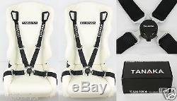 2x Tanaka Black 4 Point Camlock Quick Release Racing Seat Belt Harness Fit Acura