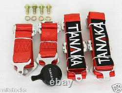 2x Tanaka Red 4 Point Camlock Quick Release Racing Seat Belt Harness Fit Dodge