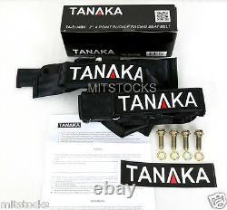 2x Tanaka Universal Black 4 Point Ez Release Buckle Racing Seat Belt Harness New