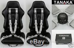 2x Tanaka Universal Gray 4 Point Camlock Quick Release Racing Seat Belt Harness
