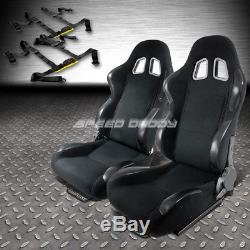 2x Woven Cloth Carbon Look Racing Seats+universal Slider+2x 4-point Harness Belt