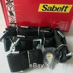 3W Black Sabelt 4 Point Camlock Quick Release Seat Belt Harness Universal
