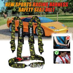 3inch 4 Point Sport Quick Release Safety Seat Belt Harness for Racing Car Camo