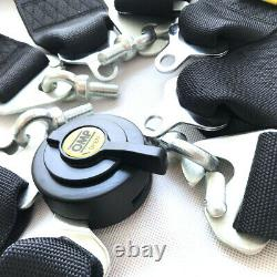 4 Point 2.75/W Camlock Universal Racing Seat Belt Harness Quick Release Black