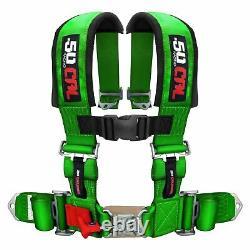 4 Point Safety Harness 2 Inch Seat Belt Commander Maverick General Teryx Green
