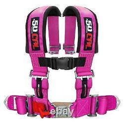4 Point Safety Harness 3 Inch Seat Belt Latch Lock UTV Sand Rail Race Car Pink