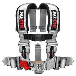 50 Cal Racing 5 Point 2 Seat Belt Safety Harness Silver for Polaris RZR XP1000