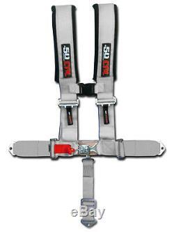 50 Cal Racing Seat Belt Harness Silver Polaris RZR4 Custom Part 5 Point UTV 900